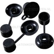 Kunststof combi doppen zwart 100 stuks